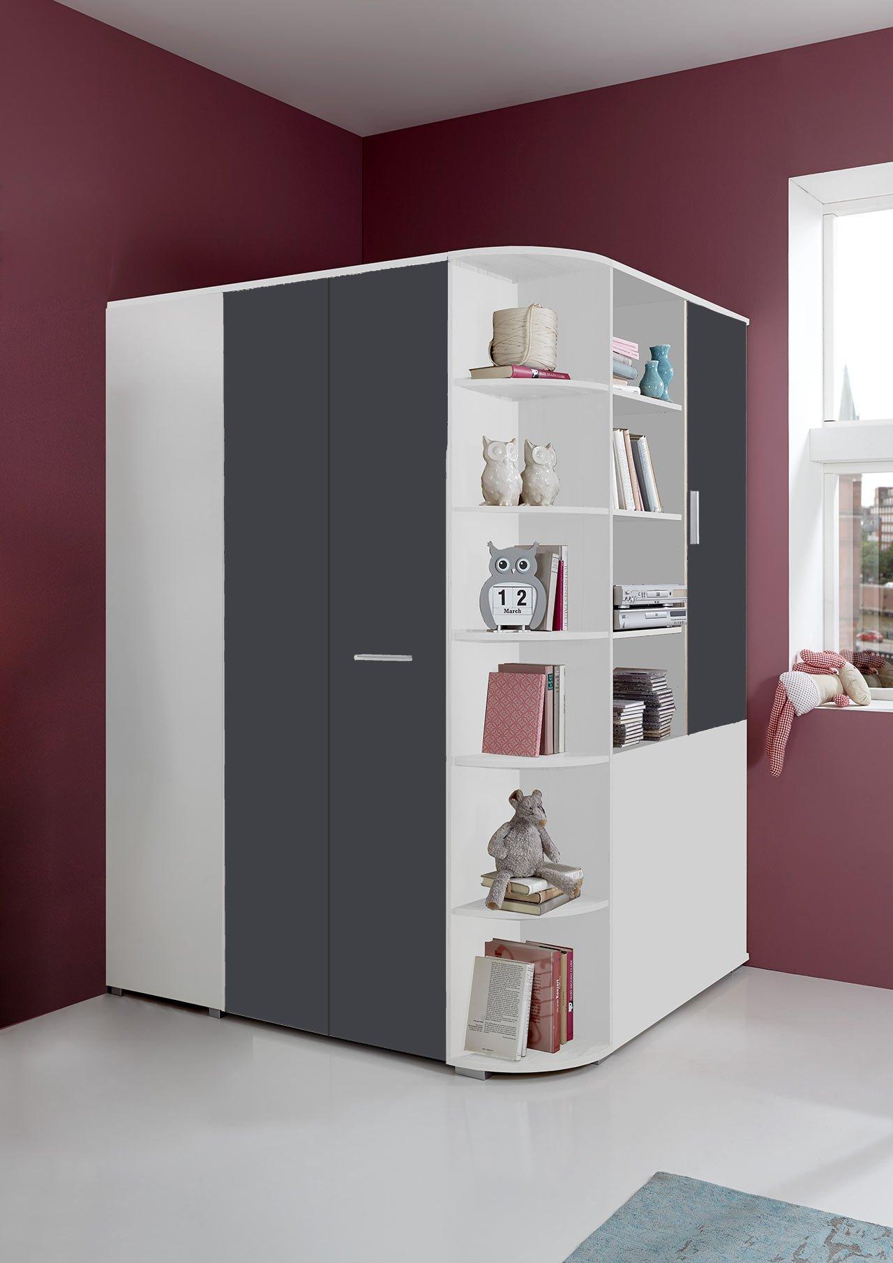 lifestyle4living Begehbarer Eckkleiderschrank in weiß, graue Falttür   Schlafzimmerschrank   Jugendzimmerschrank   Eckschrank 1