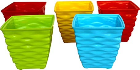 Malhotra Plastic 110003 Plastic Diamond Pot Set (Multicolored, 5-Pieces)