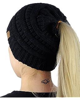 e6621735e04 Carolilly Bonnet Hiver Femme en Tricot avec Trou pour Queue de Cheval  Beanie Hat Multicolore