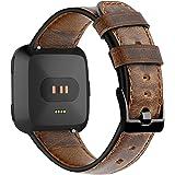 KIMILAR armband compatibel met fitbit versa/versa 2 / versa lite voor vrouwen mannen, leer band reserveband riem bandje compa