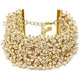 Zaveri Pearls Antique Gold Tone Multistrand Clustered Pearls Ethnic Bracelet For Women-ZPFK10113