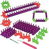 Coopay Kit de Tricot,Kits de Métier à Tisser en Plastique Flexibles Réglable avec Crochets de Tricot,Comprend Un Métier à Tri