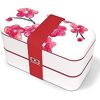 monbento - MB Original Graphic Blossom bento Box Rouge Made in France - Lunch Box hermétique 2 étages - Boîte Repas…