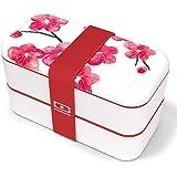 monbento - MB Original Graphic Blossom bento Box Rosa Made in France - Lunch Box con contenitori ermetici 2 Livelli - Porta P
