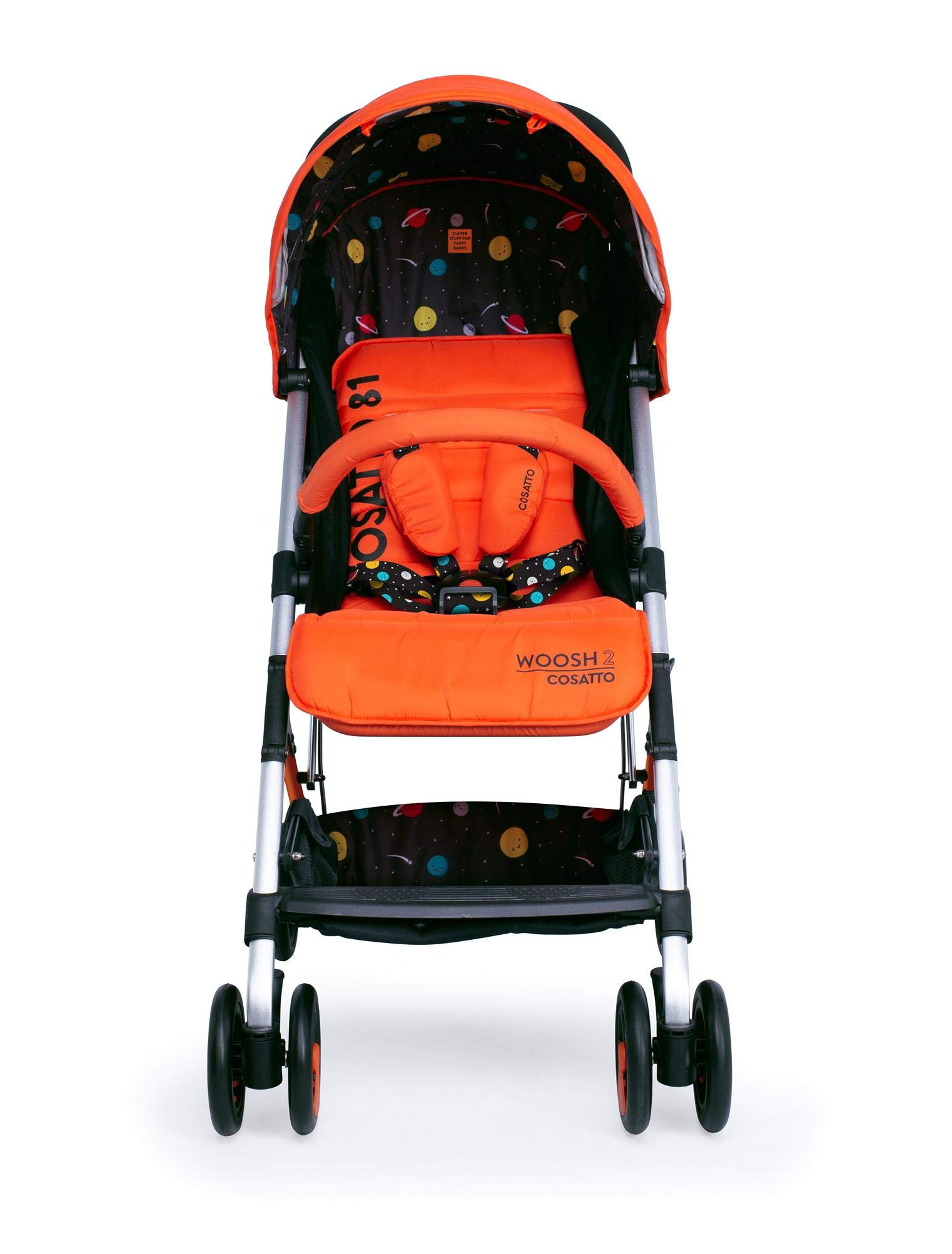 Cosatto Woosh 2 Stroller Spaceman with raincover and Bumper bar Birth to 25kg Cosatto INCLUDES: The pushchair itself, Raincover, Bumper bar,4 year guarantee(UK and Ireland only) Suitable from birth to max weight of 25kg. Lets your toddler use it for even longer. Lightweight, sturdy aluminium frame. Newborn recline. Lightweight waterproof Ripstop fabric on seat. Lockable swivel front wheels for quick manoeuvres Roomy seat for extra comfort. Removable bumper bar for extra support. Magic bell. Front & rear suspension for a smooth ride. 4