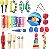 TOPERSUN 28PCS Instruments de Musique Enfant Jouets Musicaux Bois Cadeau de l'enfant Instrument Percussion Enfant Ensemble av