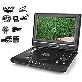 Garsent 9.8'' Lettore Dvd Portatile, LCD HD Lettore Dvd da Auto con Lo Schermo Girevole, Ricevitore Radio FM, Batteria Ricari