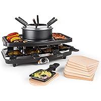 Klarstein Entrecôte - Raclette, Fondue, Grill de table électrique, 1100 W, Pour 8 personnes, 8 poêlons, Grill amovible…