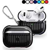Case for Airpods Pro Cover, TPU + PU 2 in 1 Design, Compatible with Air pods 3 Protective Case ( Wavy Surface - Black )