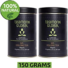 Teamonk Nilgiri Oolong Tea, 75g (38 Cups)-Pack of 2 | 100% Natural Loose Leaf Tea | Wa Oolong Tea for Weight Loss | Whole Leaf Tea | No Additives