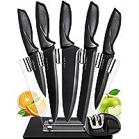 7 Pièces Set Couteau Cuisine Professionnelle - Couteau de Cuisine Acier Inoxydable avec Bloc Couteaux Cuisine Acrylique…