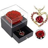 Portagioie rosa eterna, ideale come regalo per matrimonio, anniversario, compleanno, San Valentino, Vera rosa conservata con
