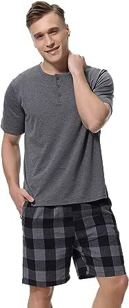 iClosam Men's Pajama Set Cotton Pyjamas Short Sleeve Loungewear Summer Classic Striped Shorts & Shirt Sleepwear PJ Set for Men S-XXL