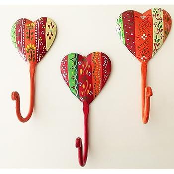 Orient Herz aus Metall 2er-Set handbemalt Indien Landhaus
