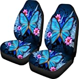 chaqlin Universal Black Car Seat Cover Blue Butterfly Printing Set of 2 Front Full Auto Accessories Protector Case Bag for Wo