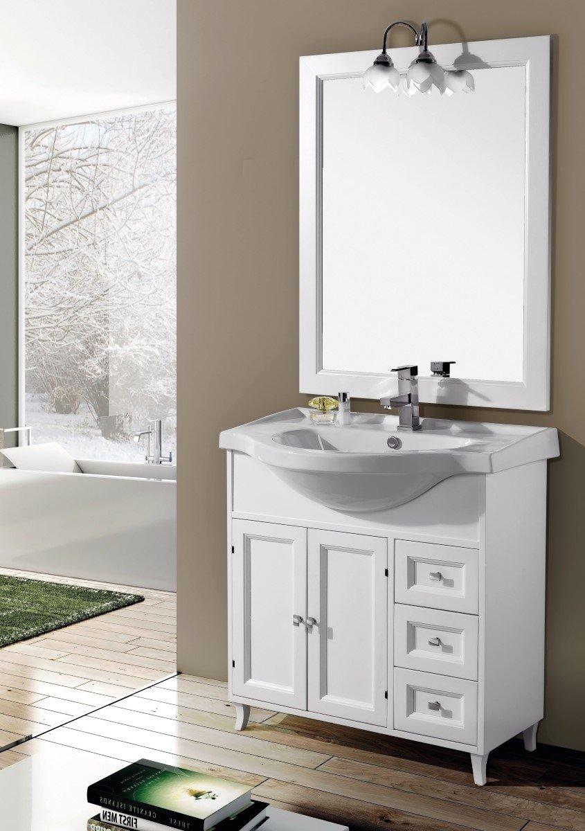 Perfect mobile da bagno con lavabo e specchio ilaria cm arredamento da bagno bianco classico - Mobile bagno classico bianco ...