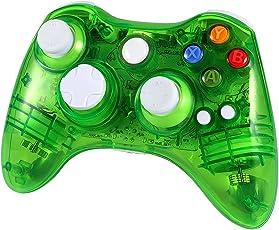 Wetoph XBOX 360 Wireless Controller, GD02 Nachleuchten PC-Controller Transparente Gamepad mit 8 LED-Leuchten Unterstützung Xbox 360 und PC (Windows XP/7/8/10) grün