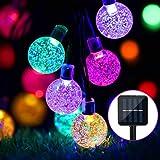 Guirnalda de Luces Solares para Exteriores, 24 pies, 50 LED, Luces Solares de Jardín, Impermeable, Bola de Cristal, Luces Dec