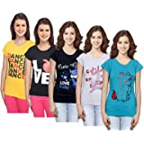 IndiWeaves Women's Combo Pack of Cotton Printed T-Shirts (Pack of 5)