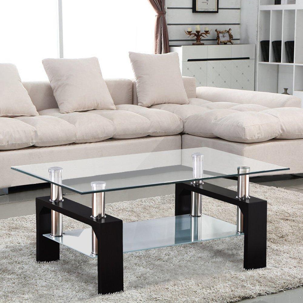 UEnjoy Glass Coffee Table Rectangular Black Legs In Oak Amazoncouk Kitchen Home