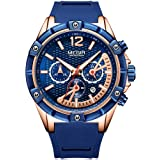 MEGIR Men's Chronograph Quartz Watches Fashion Luxury Silicone Strap Wristwatch Waterproof Luminous Military Sports Watch Man