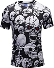 Mose Men's Bone Print Casual Scary Skulls 3D Printing Short Sleeve O-Neck T-Shirt Top Blouse