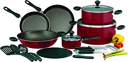 Prestige Aluminum Non-stick Cookware Set of 17-Piece, Red PR21822