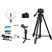 Canon EOS 80D Digital SLR Camera + EF-S 18-55mm STM Lens 16GB Card, Vlogging Bundle with Digitek 550LW Tripod, Digitek 18 inch Ring Light, Boya BYM1 lavalier Microphone, DJI Ronin SC Gimbal
