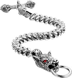 Oidea, bracciale da uomo in stile gotico vintage, testa di drago con strass rossi, bracciale da motociclista, catena a maglia barbazzale, argento