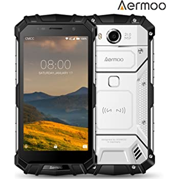 Smartphone in Offerta, AERMOO M1 IP68 Smartphone Impermeabile - Android 7.0 Telefoni Impermeabili - 4G 5.2 pollici FHD - Helio P25 Octa-core - 6GB RAM + 64GB ROM - 8.0MP + 21.0MP - 5580mAh - Argento