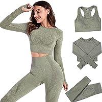 DONYKARRY 3set di Abbigliamento Sportivo da Palestra Senza Cuciture, Yoga Gym Leggings da Yoga a Vita alta e Reggiseno…