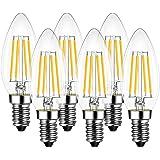 LVWIT Ampoules bougie à filament LED E14, 6.5W équivalente à Ampoule halogène 60W, 806 lumens, Couleur 2700K Blanc Chaud. Amp