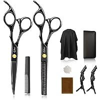 Qhui Haarschere Set, 2 Extra Scharfe Haarschneideschere mit Haarschneideumhang, Licht Friseurscheren mit Einseitiger…