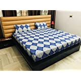 Ab home decor 100% Cotton 300 TC King Size Elastic Fitted Bed Sheets with 2 Pillow Covers (Blue)