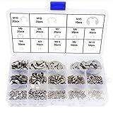 Anillo de retención externo con clip de acero inoxidable 304, 400 piezas, 13 tamaños, con caja de plástico, para 1,5/2/2,5/3/