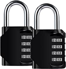 Diyife 2 Pack 4-Stelliges Zahlenschloss, E2BUY® Kombinationsschloss, Vorhängeschloss, Wetterfestes Metall & Plated Steel Combination Lock für Schule, Angestellter, Gym & Sports Locker, Case, Toolbox, Zaun, Hasp Cabinet & Storage - Schwarz