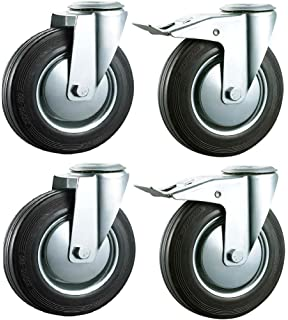 4pcs Child Crib Caster in Rubber Swivel Cot Castors 2 Inch Furniture Wheel with Brake,Baby Crib Wheel Accessories,Load 70kg,Double Wheel,Silent,Black,with U-Bracket 18mm//0.7in