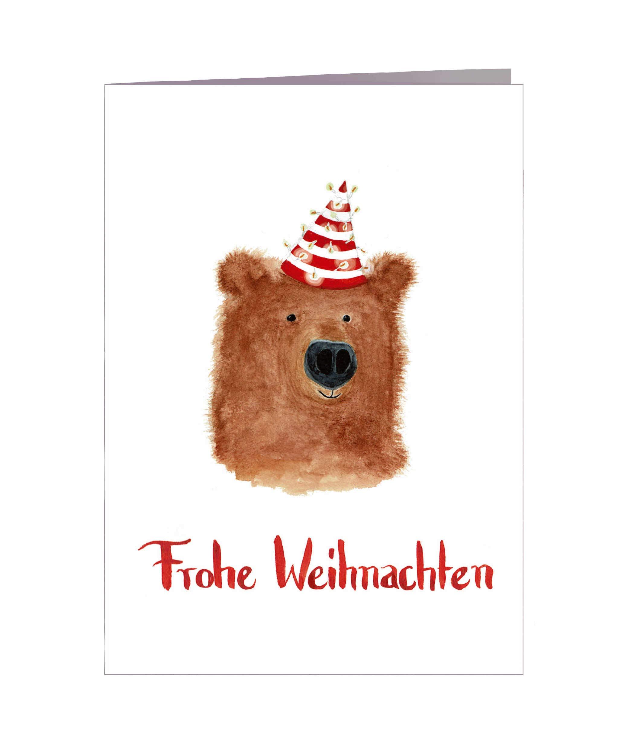 Weihnachtskarten Tiere.Weihnachtskarten Set Frohe Weihnachten 5er Tiere