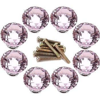 Surepromise 8X Schrankkn/öpfe Schubladenkn/öpfe Kristallglas 30mm Pink Rund Zinklegierung M/öbelkn/öpfe M/öbelknopf f/ür K/üche Kinderzimmer B/üro Schlaf- Bad- Wohn-