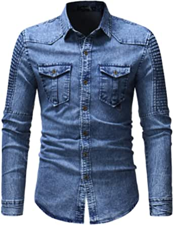 NOBRAND Young Men's Stitching Sleeves Denim Shirt Long Sleeve Denim Jacket Men