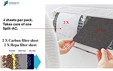 PPYE Hepa F9 Fiber And Carbon activated Electrostatic Air Purifying Filter for Split ACS (White, 4 Pieces)