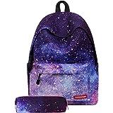 Litthing Rucksack, Schultasche mit Etui Schule Daypacks Galaxy College Schulrucksack für Picknick/Reisen/Arbeit/Rucksack für
