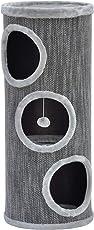 nanook Katzen Kratztonne/Kratzbaum Tower - XL 40 cm Ø - mit großen Öffnungen - 70 und 100 cm - grau - stabil