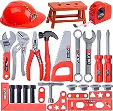 iVansa 31er Set Werkzeugkoffer Kinder Reparatur-Spiel-Werkzeug Kinder Werkzeugkoffer Set Kinder-Rollenspiele Spielzeug für Kinder ab 3 Jahre