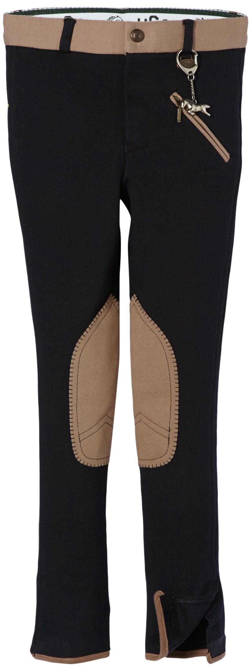 USG United Sportproducts, Pantaloni da cavallerizzo Bambino Emilia, Nero (Schwarz/Camel), 152 cm