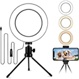 6.2'' Table Selfie Ring Light with Stand, Mini Desktop LED Lamp with Dimmable 3 Modes 10 Brightness Level for Makeup…