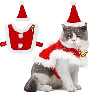 Outgeek Costume Natale Gatto, Abiti da Babbo Natale Regolabili per Animali da Compagnia con Campane Vestito Natalizio per Cani e Regalo Dolce per Gattino