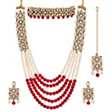 Zeneme Jewellery Sets for Women Gold Plated Bridal Long Necklace Set Neck Choker with Earrings and Maang Tikka for Women & Gi