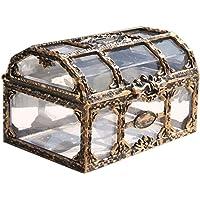 rebirthesame Retro Koffer Aufbewahrung Schatzkiste Retro Schmuckkästchen Transparent Deko Koffer Antik, Große…