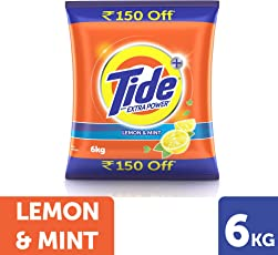 Tide + with Extra Power Lemon and Mint Detergent Washing Powder - 6 kg Pack (Rupees 150 Off)